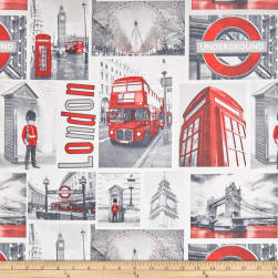 ArtCo Prints Canvas London Photos Grey/Red Fabric