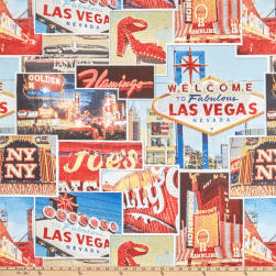 ArtCo Prints Canvas Las Vegas Red/Blue Fabric