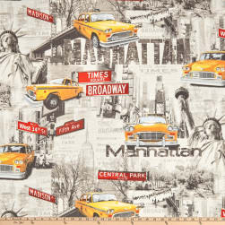 ArtCo Prints Canvas NYC Taxi Grey Fabric