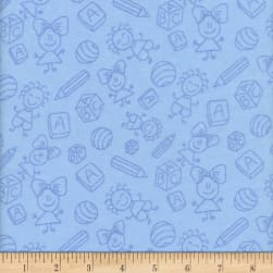 Flannel Melody Baby Blue Fabric