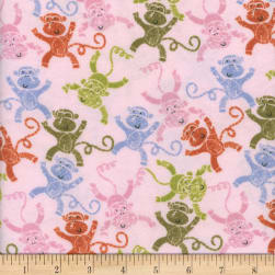 Flannel Melody Monkeys Pink Fabric