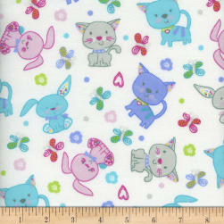 Flannel Snuggy Bunny Cat White Blue Fabric