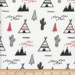 Flannel Snuggy Teepee/Cactus Red/White