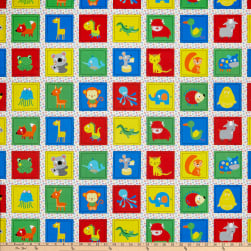 Stof Fabrics Denmark Zoo Around Kids Blocks Bright