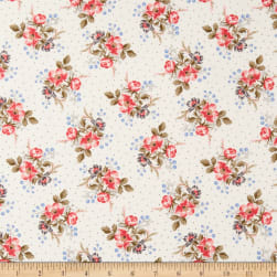 Windham Colonial Williamsburg Floral Clusters Linen White Fabric