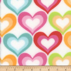 Super Soft Velour Fleece Hearts White Fabric
