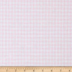 100% European Linen Gingham Shirting Soft Pink Fabric