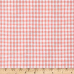 100% European Linen Gingham Shirting Coral Fabric