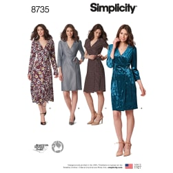 Simplicity 8735 Misses Wrap Dresses U5 (Sizes 16-24)