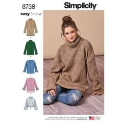 Simplicity 8738 Misses' Knit Mini Dress, Tunic or