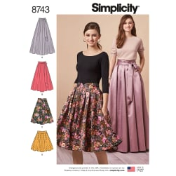 Simplicity 8743 Misses' Pleated Skirts R5 (Sizes 14-22)