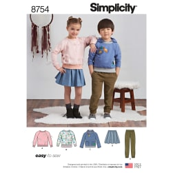 Simplicity 8754 Children's Pants, Skirt and Sweatshirts A