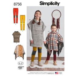 Simplicity 8756 Children's and Girls' Poncho and Leggings