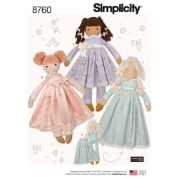 Simplicity 8760 Stuffed Dolls OS (One Size)