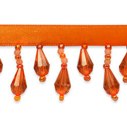 Joanne Beaded Teardrop Fringe Trim Bright Orange