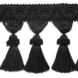 Expo International 6in Faux Suede Fringe Trim Black
