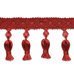 Tied Tassel Trim with Beads Cranberry