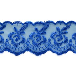 Fabiana Fancy Flower Embroidered Lace Trim Royal Blue