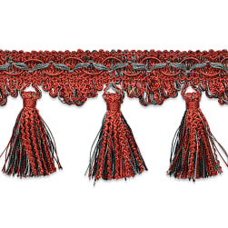 Ric Rac Tassel Trim Red Multi