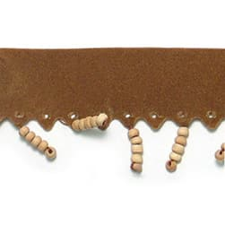 Faux Suede Beaded Fringe Trim Brown