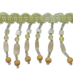 Fiber Optic Beaded Fringe Trim Beige