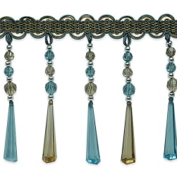 Genevieve Bead Fringe Trim Blue Multi