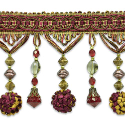 Preshea Decorative Beaded Fringe Trim Wine Multi