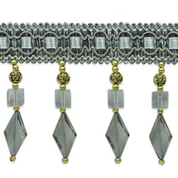 Anika Cube / Diamond Beaded Fringe Trim Gray
