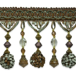 Preshea Decorative Beaded Fringe Trim Copper/ Seafoam