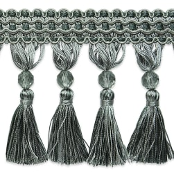 Jaclyn Beaded Tassel Fringe Trim GRAY/SLATE