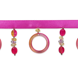 Bauble & Ring Beaded FringeTrim Fuchsia