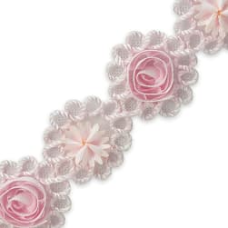 Ribbon Rosette & Embroidery Flower Trim Pink