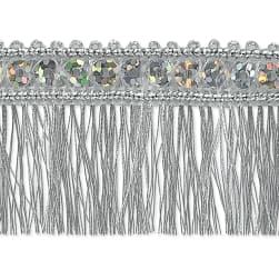 Esther Sequin Metallic Fringe Trim Silver