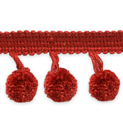Mini Ball Pom Fringe Trim Wine