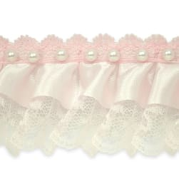 "Bradshaw 2"" Pearl Accent Ruffled Lace Trim Baby"
