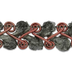 Fancy Chenille Woven Braid Trim Pewter Multi