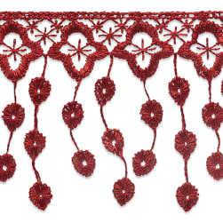 Abigail Victorian Lace Fringe Trim Red