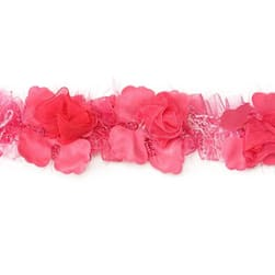 Macey Stretch Flower Trim Bright Fuchsia