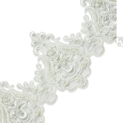 Nelly Embroidered Organza Lace Trim with Pearls and