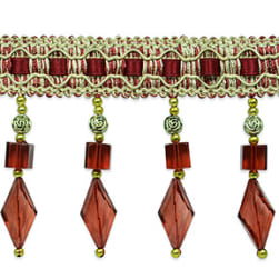 Anika Cube / Diamond Beaded Fringe Trim Cranberry