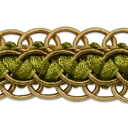 Linda Scalloped Braid Trim Olive Multi