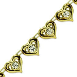 "Kandi 1/2"" Sparkle Heart Rhinestone Trim Gold"