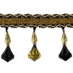 Amore Diamante Beaded Fringe Trim Black/ Gold