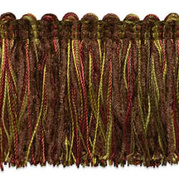 Chenille Fiber Brush Fringe Trim Chocolate Multi