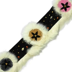 Fur Trimmed Faux Suede Trim Black Multi (Precut 10 Yard)