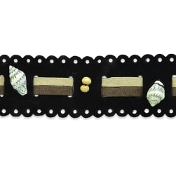 Beaded Faux Suede with Shells Trim Black Multi (Precut 10 Yard)