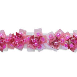 Tabitha Sequin Flower Beaded Trim Fuchsia (Precut, 10