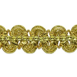 Eva Faux Rhinestone Metallic Braid Trim Gold (Precut 20 Yard)