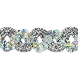 Reba Ric Rac Sequin Braid Trim Silver (Precut 20 Yard)