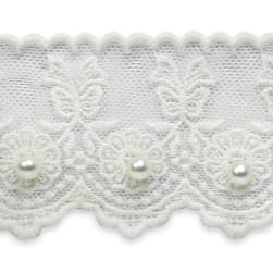Roses with Bow Bridal Lace Trim White (Precut,